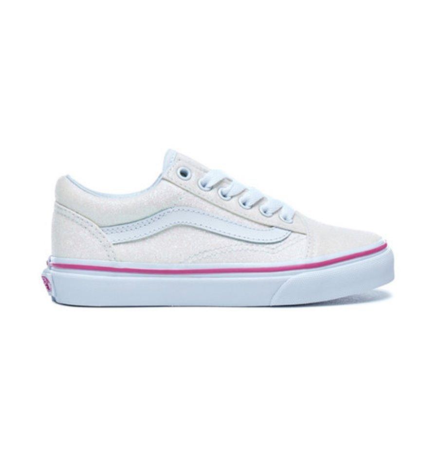 cd9382a931e880 Vans Kids Old Skool White Glitter - FOOTWEAR-Girl   Kid Republic ...