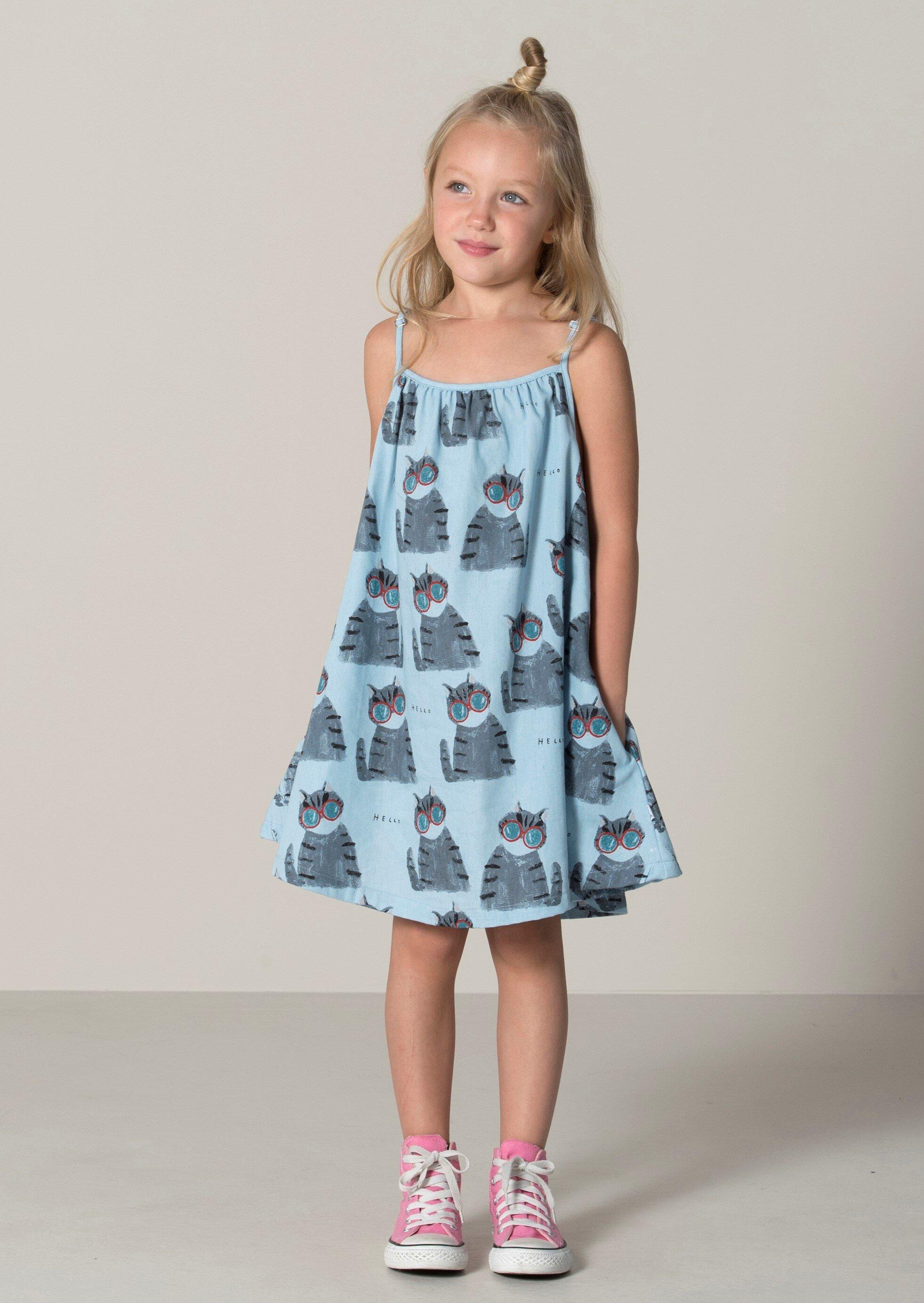 623075816a65 Minti Painted Cats Swing Dress - Chambray - SHOP BY BRAND-Minti ...