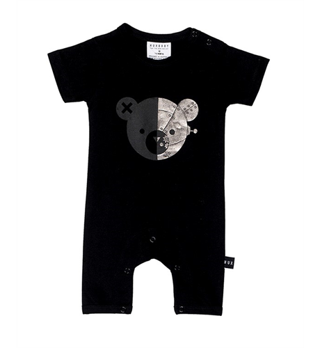 Huxbaby Robo Bear Short Romper-Black