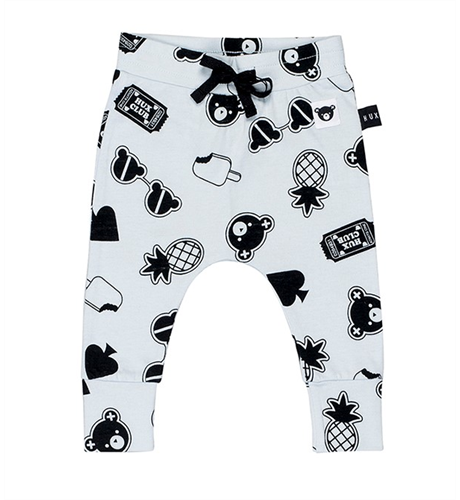 Huxbaby Patches Drop Crotch Pant-Sky