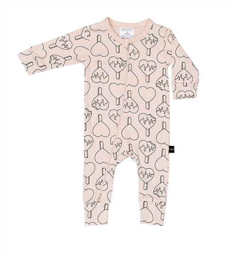 Huxbaby Heart Pop Zip Romper-Petal