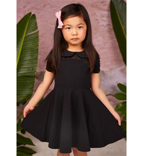Rock Your Kid Gathered Sleeve Waisted Dress - Black
