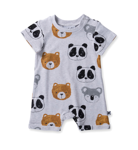 Minti Baby Painted Bears Brooklyn Suit - White Marle