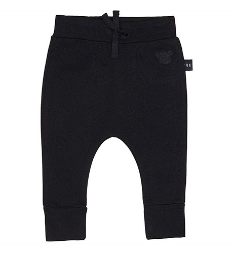 Huxbaby Black Drop Crotch Fleece Pant