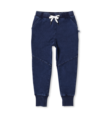 Minti Blasted Sliced Trackies - Bright Blue Wash