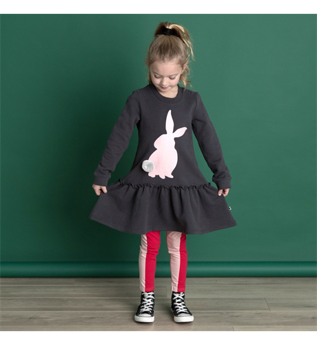 Littlehorn Bunny Stamp Dress - Shadow