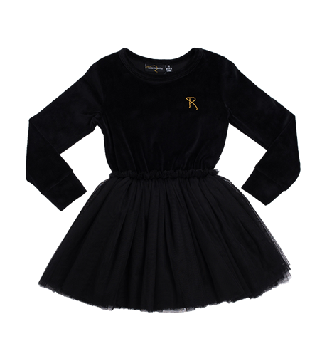 Rock Your Kid Velvet Circus Dress - Black