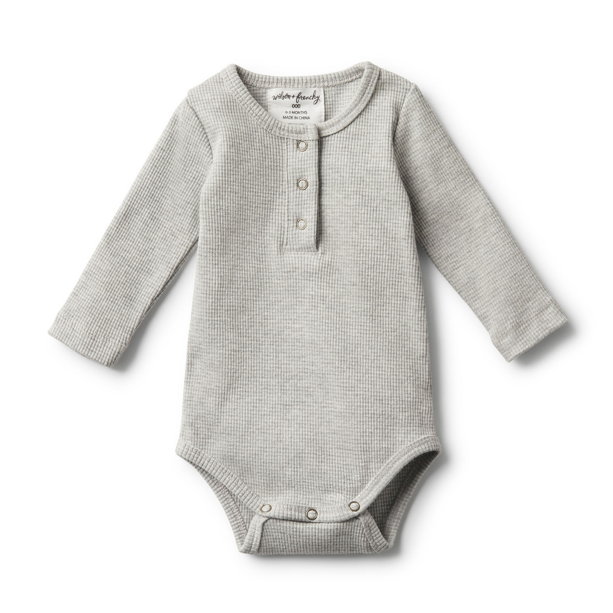 b195b343883 Wilson & Frenchy Organic Grey Marle Rib Long Sleeve Bodysuit -  CLOTHING-BABY-Baby All In Ones : Kid Republic - W19 Wilson & Frenchy D1