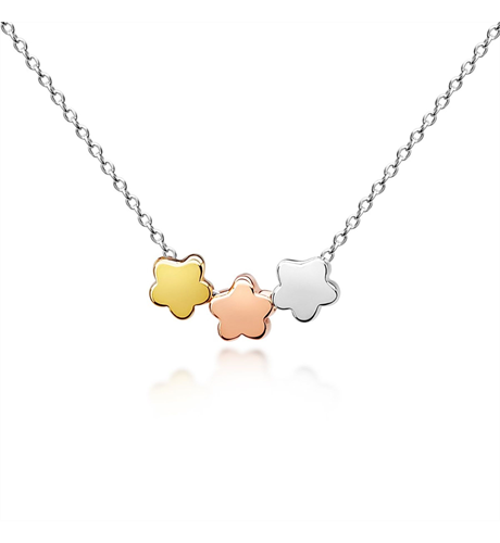 Three Floating Flowers Childs Necklace - Three Tone