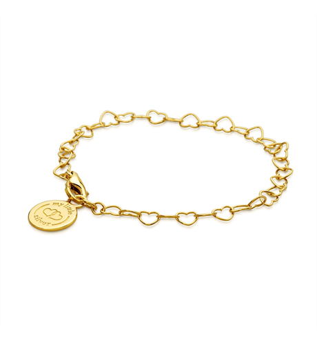 Chain of Hearts Charm Bracelet - Yellow Gold