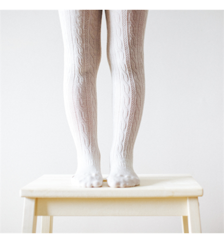 Lamington Merino Tights Cable - Oatmeal