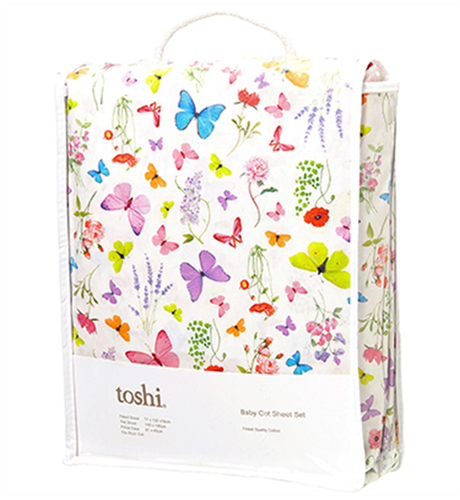 Toshi Cotton Cot Sheet Set - Butterfly