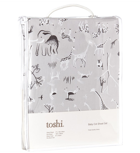 Toshi Cotton Cot Sheet Set - Animale
